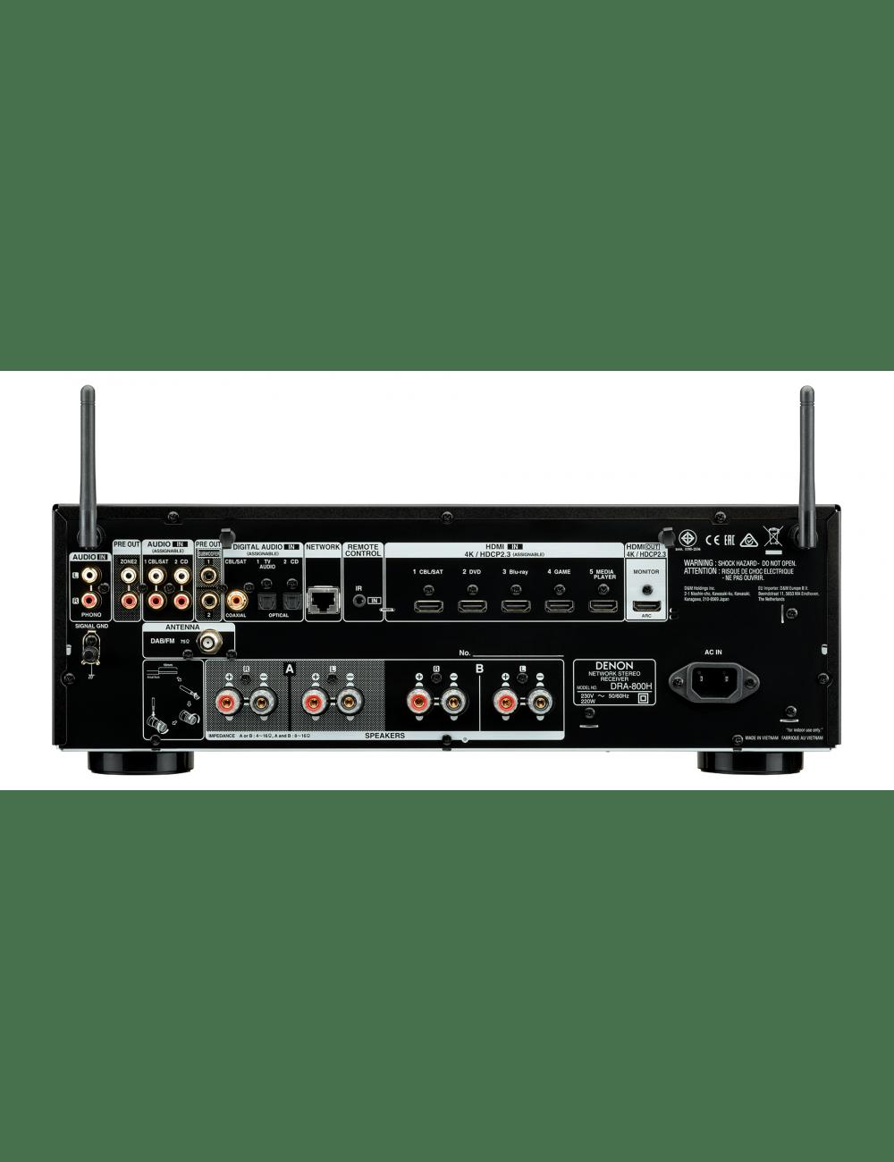 Sintoamplificatore 2 canali Hi-Fi di rete, Denon DRA-800H, vista posteriore pannello di connessione