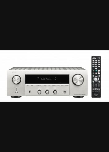 Sintoamplificatore 2 canali Hi-Fi di rete, Denon DRA-800H, vista frontale finitura Silver con telecomando