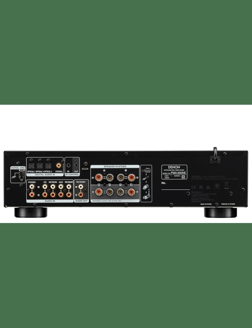 amplificatore integrato HiFi, Denon PMA-800NE, ingressi analogici e digitali, stadio phono, finitura black, connessioni