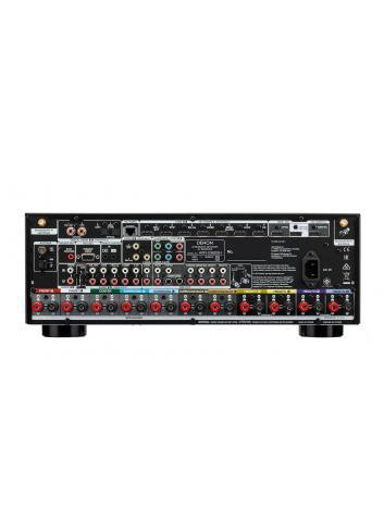 Sintoamplificatore AV 9.2 canali 4K Ultra HD con Audio 3D e HEOS, Denon AVR-X3600H, vista pannello posteriore